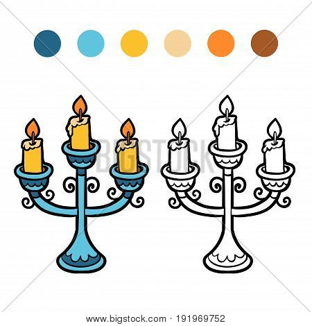 Coloring book for children, vector cartoon Candlestick