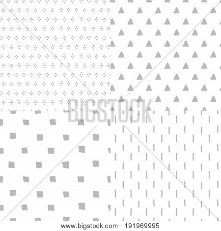 Simple grey and white geometric seamless patterns set, vector background