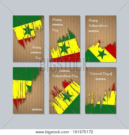 Senegal Patriotic Cards For National Day. Expressive Brush Stroke In National Flag Colors On Kraft P