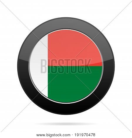 National flag of Madagascar. Shiny black round button with shadow.