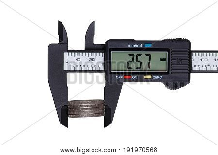 Digital caliper measures the diameter of euro coins. Objects isolated on white background.