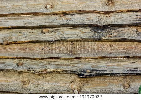 Natural wooden brown and rusty boards wall or fence with knots and nails. Abstract texture background empty template