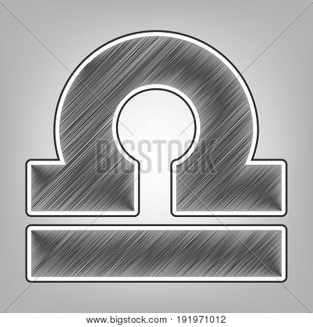Libra sign illustration. Vector. Pencil sketch imitation. Dark gray scribble icon with dark gray outer contour at gray background.