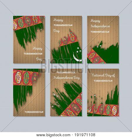 Turkmenistan Patriotic Cards For National Day. Expressive Brush Stroke In National Flag Colors On Kr