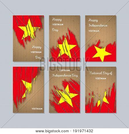 Vietnam Patriotic Cards For National Day. Expressive Brush Stroke In National Flag Colors On Kraft P