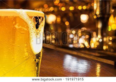 Glass light beer bar pub yellow object