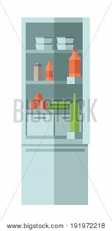 Home refrigerator with food and drink. Vector illustration in flat style, isolated on white background.