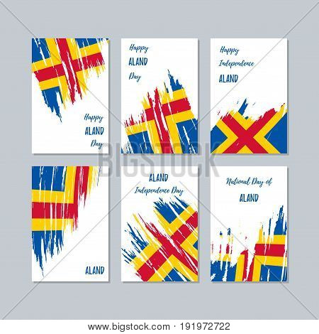 Aland Patriotic Cards For National Day. Expressive Brush Stroke In National Flag Colors On White Car