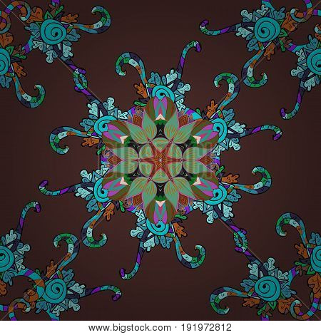 Image for books tattoo decorate plates porcelain ceramics crockery. Vector Mandala with hand drawn elements and flowers in Arabic Indian turkish pakistan ottoman motifs.