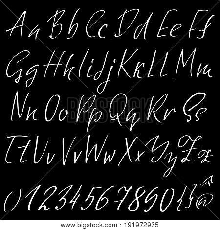 Hand drawn elegant calligraphy font. Modern brush lettering. Grunge style alphabet. Vector illustration