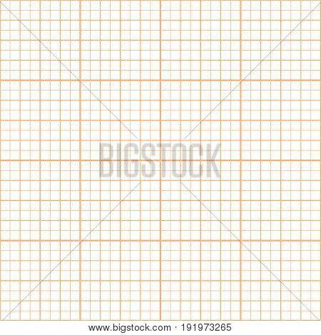 Vector orange graph paper seamless pattern, grid accented every inch