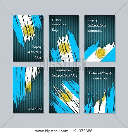 Argentina Patriotic Cards For National Day. Expressive Brush Stroke In National Flag Colors On Dark