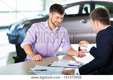 Man car deal dealer happy business customer