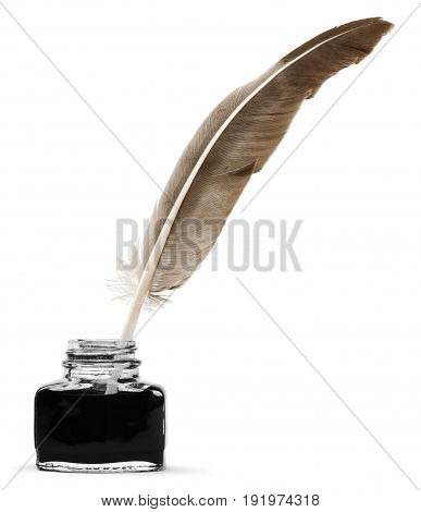 Glass ink pen feather well quill image