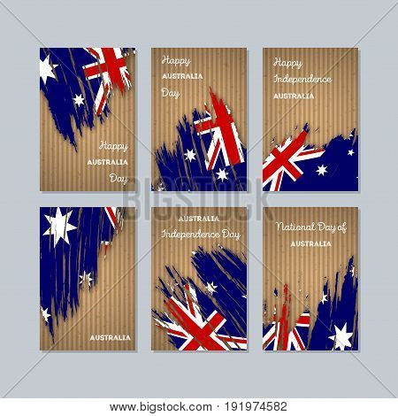 Australia Patriotic Cards For National Day. Expressive Brush Stroke In National Flag Colors On Kraft