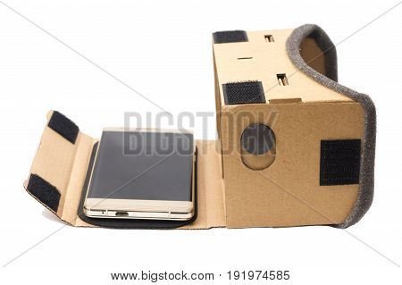 cardboard virtual reality glasses isolated side view