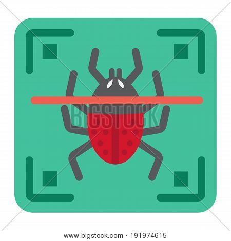 Virus scan flat icon, security and antivurus, vector graphics, a colorful solid pattern on a white background, eps 10.