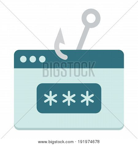 Password phishing flat icon, security and hack, vector graphics, a colorful solid pattern on a white background, eps 10.