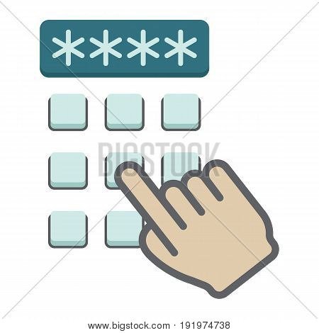 Hand finger entering pin code flat icon, unlock and password, vector graphics, a colorful solid pattern on a white background, eps 10.
