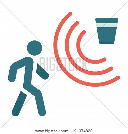 Motion detector flat icon, security and guard, vector graphics, a colorful solid pattern on a white background, eps 10.