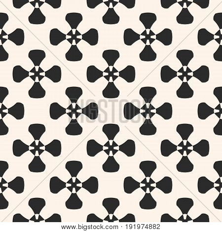 Geometric pattern. Vector simple monochrome texture with smooth crosses, decorative ancient elements. Abstract repeat background. Contrast design for tileable print. Decor pattern, textile pattern, fabric pattern, furniture pattern.