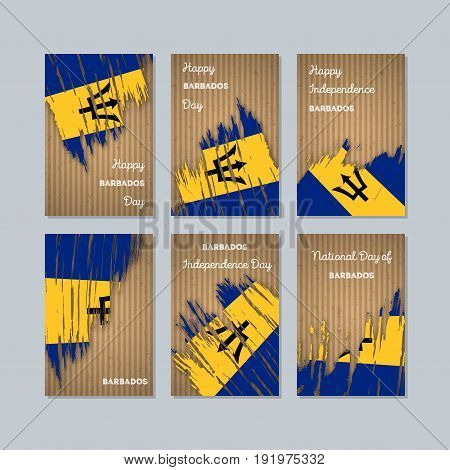 Barbados Patriotic Cards For National Day. Expressive Brush Stroke In National Flag Colors On Kraft