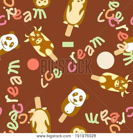ice cream  vector seamless pattern on brown background