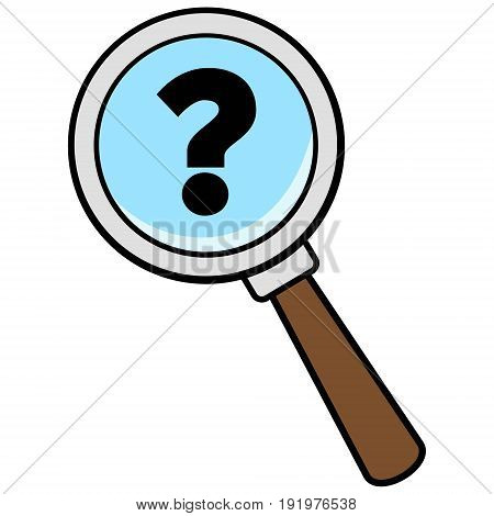 A vector illustration of a Magnifying Glass with Question Mark.