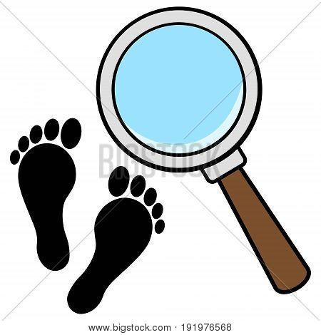 A vector illustration of a Magnifying Glass with Foot Prints.