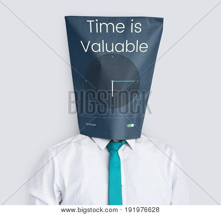 Time is valuable and clock icon graphic