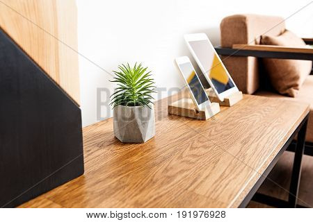 Close up of table surface with smart phone, tablet and little planter with domestic flower in it. Focus on plant