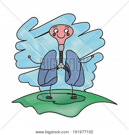 color crayon scene in grass with silhouette caricature respiratory system with windpipe vector illustration