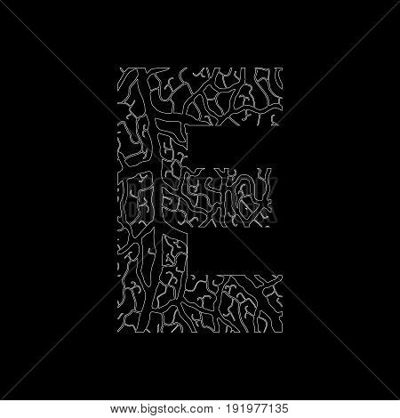 Nature Alphabet, Ecology Decorative Font. Capital Letter E Filled With Leaf Veins Pattern White On B