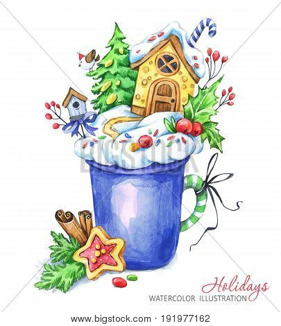 A cup of cream and a gingerbread house inside. Watercolor illustration. Fairytaile New Year's landscape. Chrismas story. Hot drink, dessert. Can be use in winter holidays design, invitations, cards.