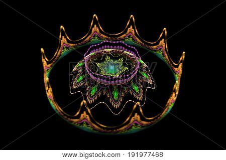 fractal colored gas burner flowers on black