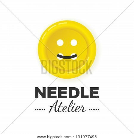Atelier or sewing manufacture logo concept. Big yellow sewn button illustration with thread in smile shape. Professional tailor logotype.