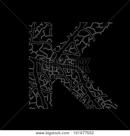 Nature Alphabet, Ecology Decorative Font. Capital Letter K Filled With Leaf Veins Pattern White On B