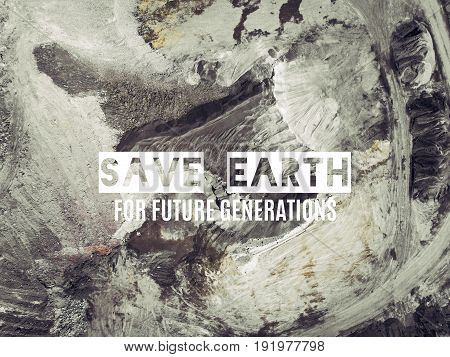 Save The Earth. Aerial View Of Open Pit Sand In Poland.