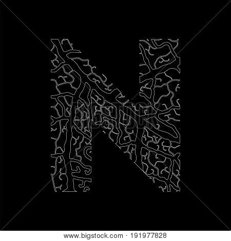 Nature Alphabet, Ecology Decorative Font. Capital Letter N Filled With Leaf Veins Pattern White On B