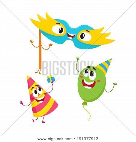 Funny birthday item characters - hat, balloon, mask - with smiling human faces, cartoon vector illustration isolated on white background. Birthday party hat, ballon and fancy mask characters, mascots