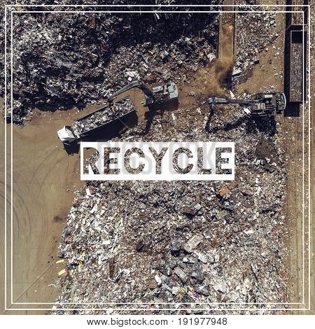 Waste Management. Recycling. Iron Raw Materials Recycling Pile, Work Machines. Metal Waste Junkyard.