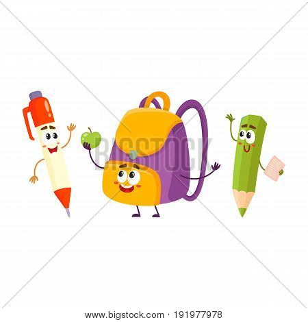 Cute and funny smiling pen, pencil, backpack characters, back to school concept, cartoon vector illustration isolated on white background. Happy school characters, mascots - school bag, pen and pencil