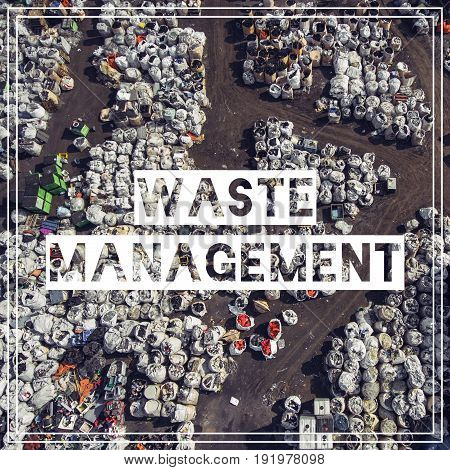 Waste Management. Recycling. View Landfill Bird's-eye View. Landfill For Waste Storage. View From Ab