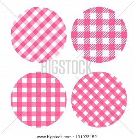 Set round backdrop of seamless checkered patterns. Vector concept background Picnic.