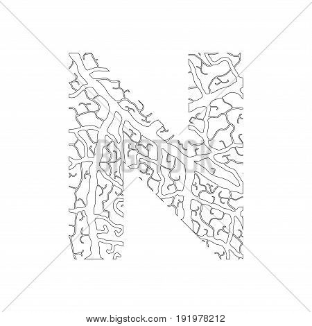 Nature Alphabet, Ecology Decorative Font. Capital Letter N Filled With Leaf Veins Pattern Black On W