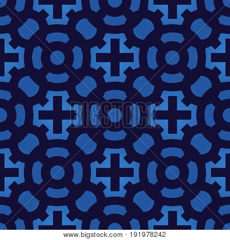 Crosses seamless pattern. Geometric vintage wallpaper. Vector blue texture.