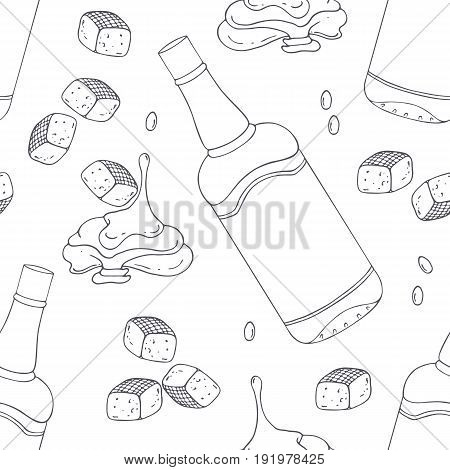 Hand drawn outline seamless pattern with bourbon caramel. Black and white food background. Vector illustration