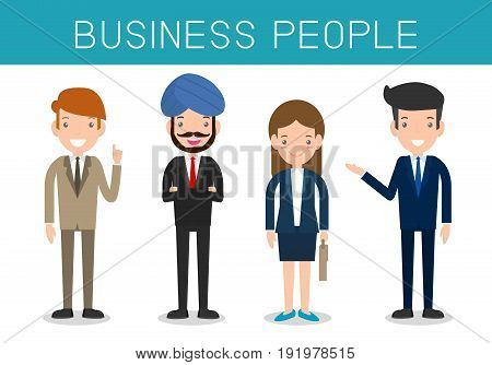 Business people, Set of diverse business people isolated on white background. Different nationalities,Vector Illustration .