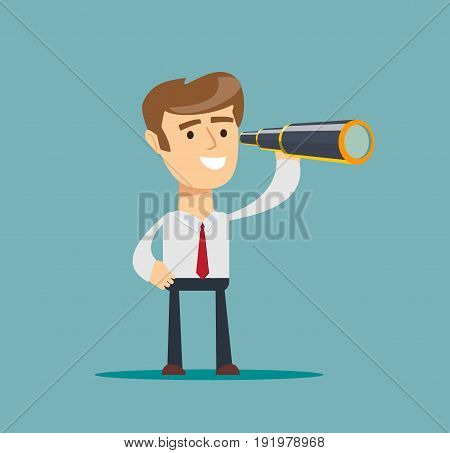 successful businessman with telescope . Business Vision Concept. Stock vector illustration for poster, greeting card, website, ad, business presentation, advertisement design.