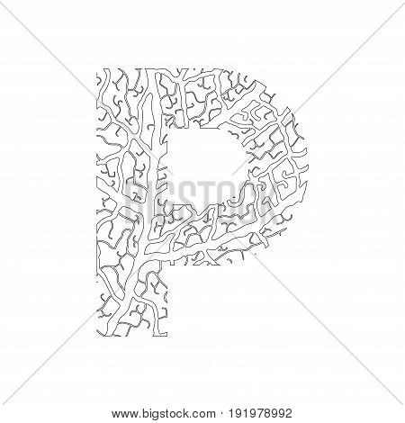 Nature Alphabet, Ecology Decorative Font. Capital Letter P Filled With Leaf Veins Pattern Black On W